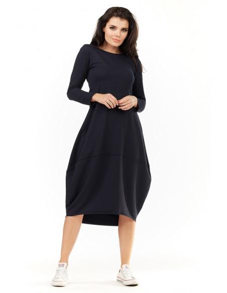 Dresowa sukienka midi z długim rękawem - granatowa