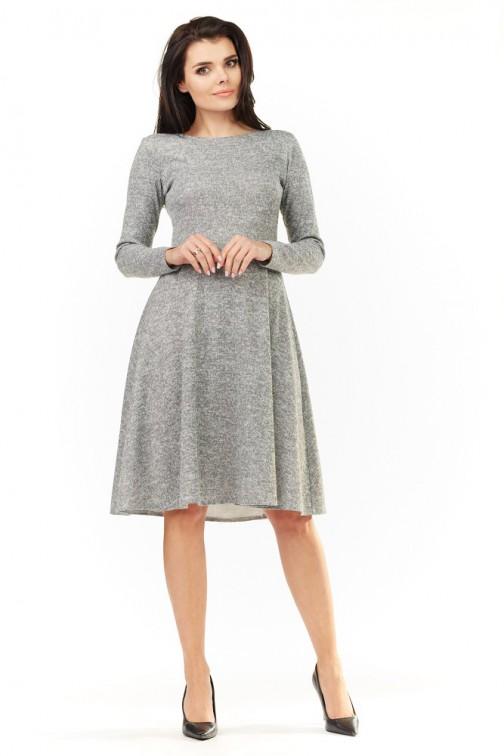 CM3501 Dzianinowa sukienka z długim rękawem - szara