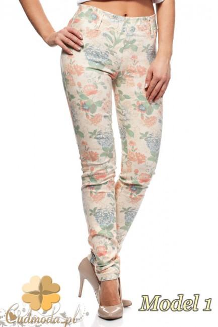Włoskie spodnie legginsy w kwiaty - model 1