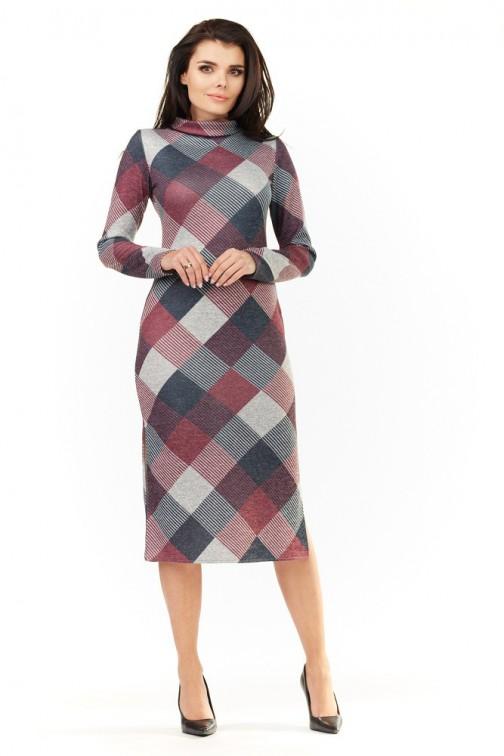 CM3502 Stylowa sukienka z półgolfem - kratka