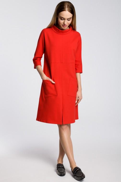 CM3581 Sukienka oversize z ukośnymi kieszeniami - czerwona