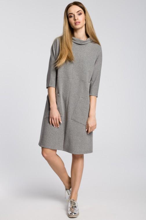 CM3581 Sukienka oversize z ukośnymi kieszeniami - szara