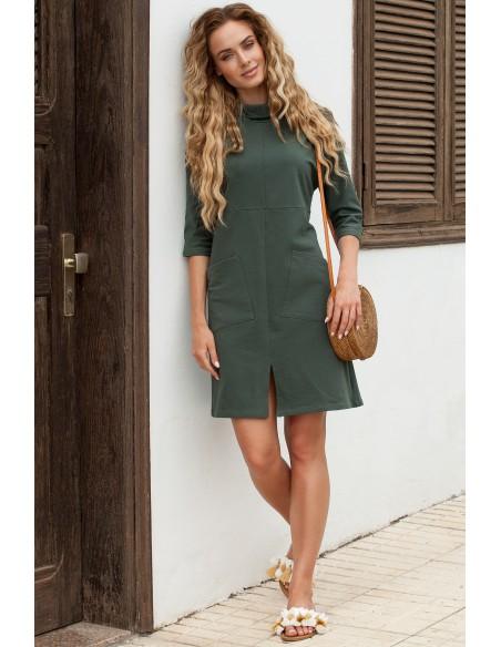 Sukienka oversize z ukośnymi kieszeniami - militarno zielona