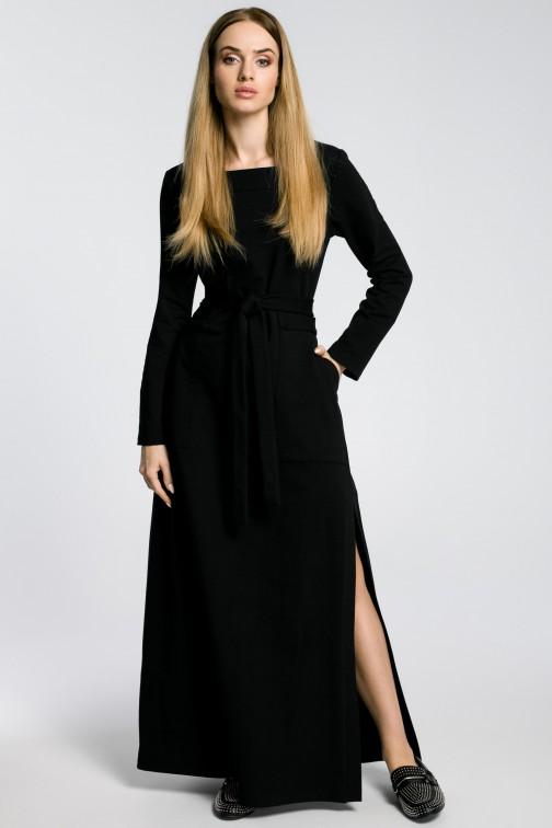 CM3582 Sukienka maxi z rozcięciem na udo - czarna
