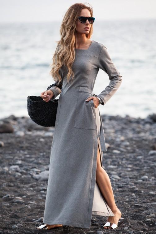 CM3582 Sukienka maxi z rozcięciem na udo - szara