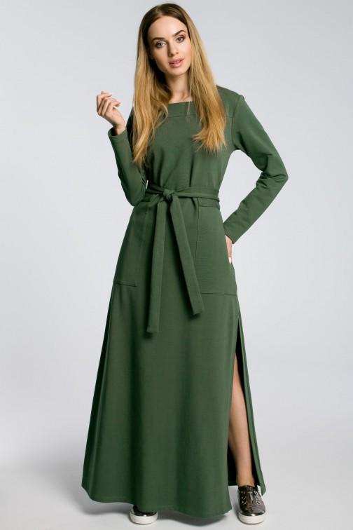 CM3582 Sukienka maxi z rozcięciem na udo - militarno zielona