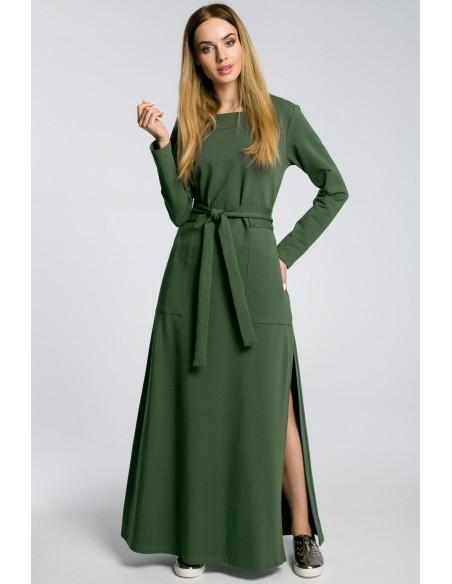 Sukienka maxi z rozcięciem na udo - militarno zielona