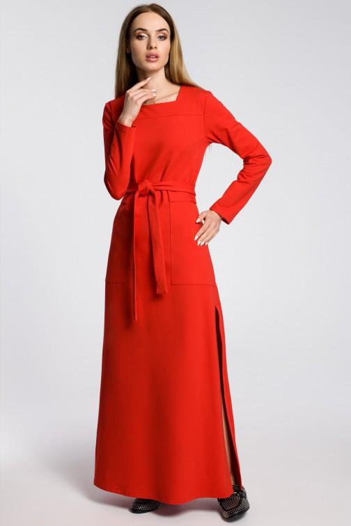 CM3582 Sukienka maxi z rozcięciem na udo - czerwona