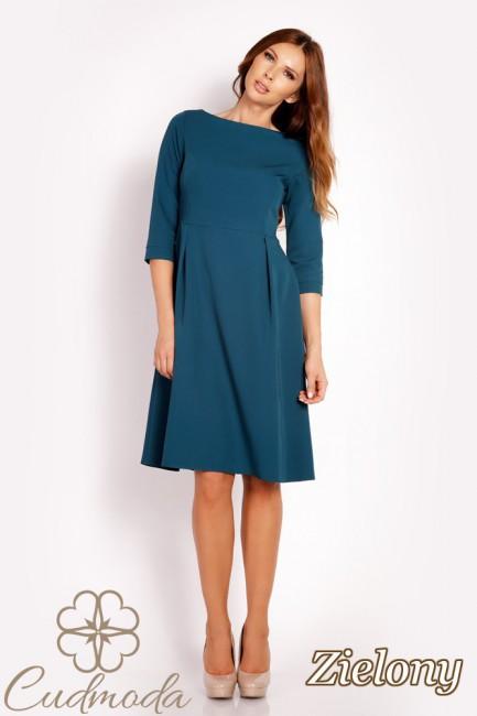 Delikatnie rozkloszowana sukienka midi - zielona
