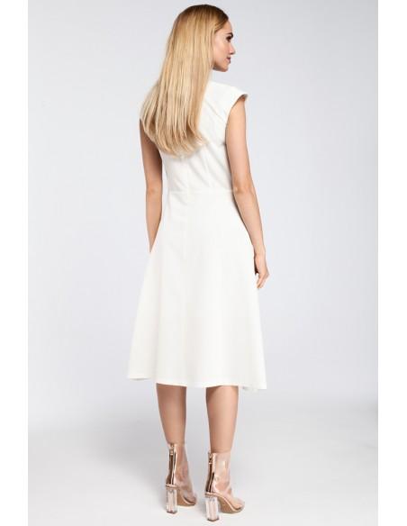 Dopasowana sukienka kontrafałda - ecru