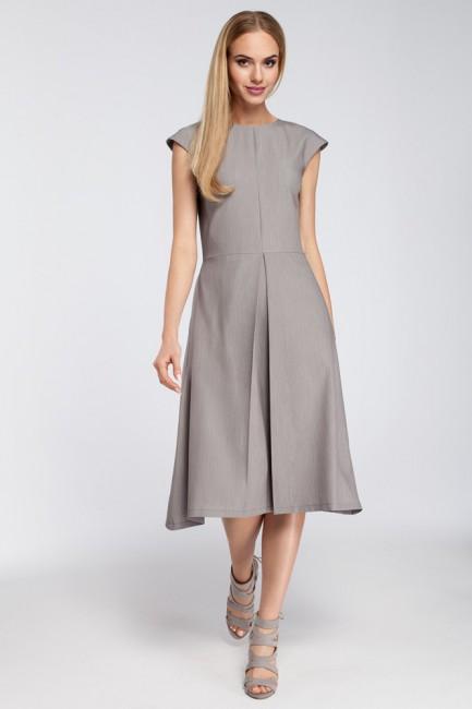 Dopasowana sukienka kontrafałda - szara