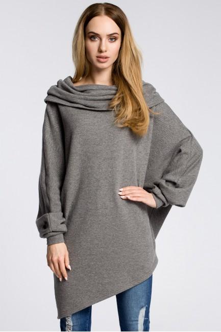 Damska bluza z luźnym golfem - szara