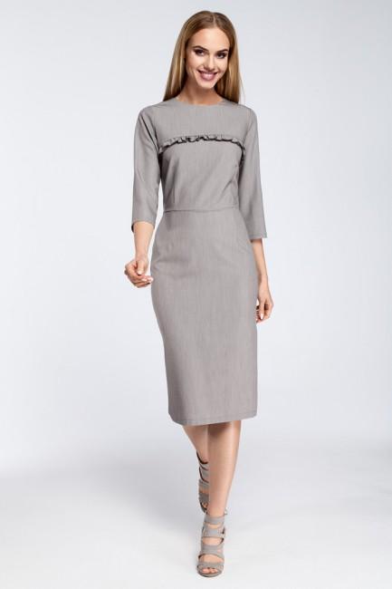 Sukienka midi z falbanką na biuście - szara