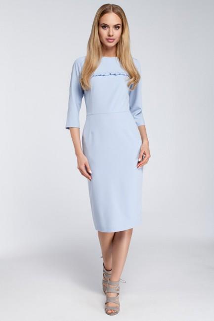 Sukienka midi z falbanką na biuście - błękitna