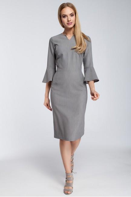 Dopasowana sukienka z falbanami przy rękawach - szara