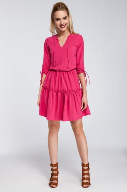Gładka sukienka w stylu boho - różowa