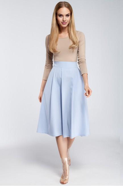 Spódnica midi z zakładkami i kieszeniami - błękitna