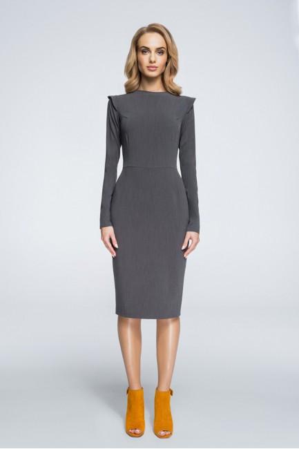 Sukienka mini ze stójką i długim rękawem - szara