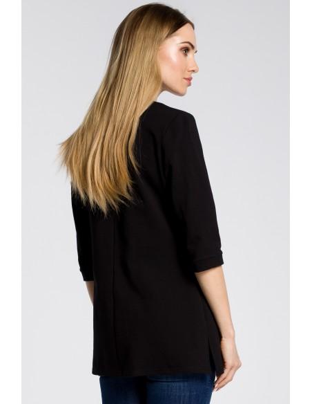Stylowa bluza damska z zamkiem - czarna