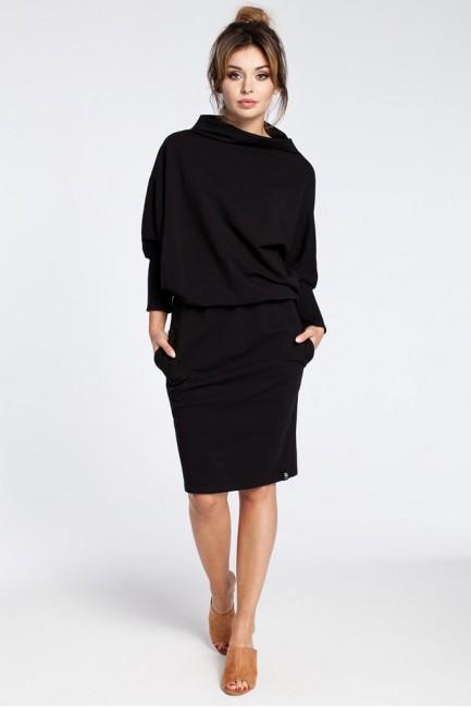 Stylowa sukienka mini z rękawami kimono - czarna