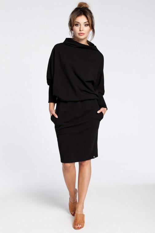 CM3029 Stylowa sukienka mini z rękawami kimono - czarna