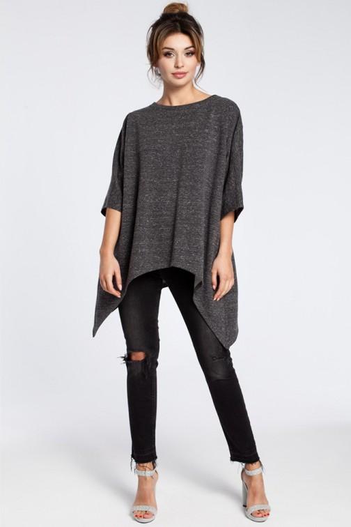 CM3031 Asymetryczna bluza oversize - grafitowa