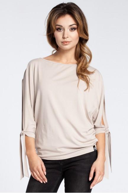 Nowoczesna bluzka z rozciętymi rękawami - beżowa