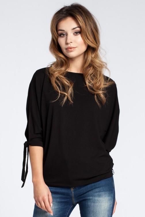 CM3033 Nowoczesna bluzka z rozciętymi rękawami - czarna