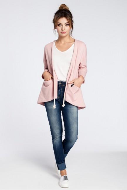 Niezapinany dzianinowy blezer - różowy