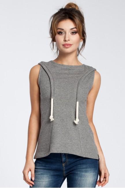 Zwiewna bluzka bez rękawów - szara