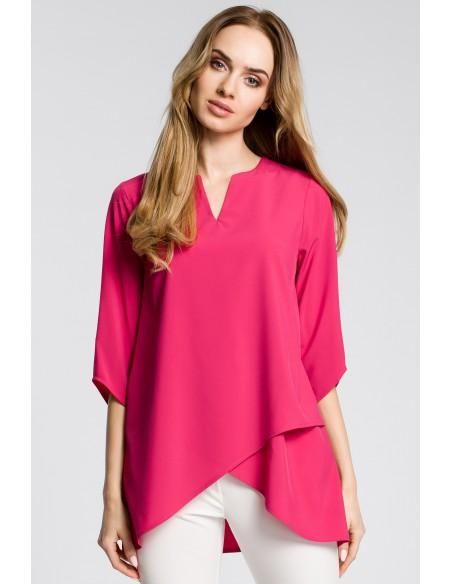 Bluzka na zakładkę - różowa