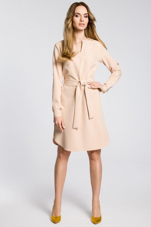 CM3589 Sukienka koszulowa z paskiem - beżowa