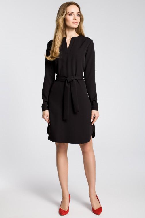 CM3589 Sukienka koszulowa z paskiem - czarna