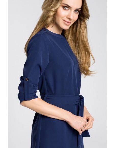 Sukienka koszulowa z paskiem - granatowa
