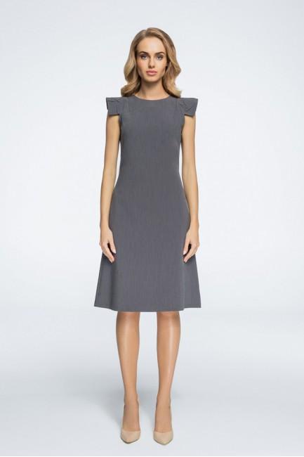 Sukienka z ozdobnymi rękawami - szara