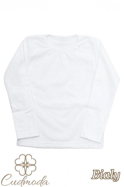 Bluzeczka dziecięca z cekinami i kokardką - biała