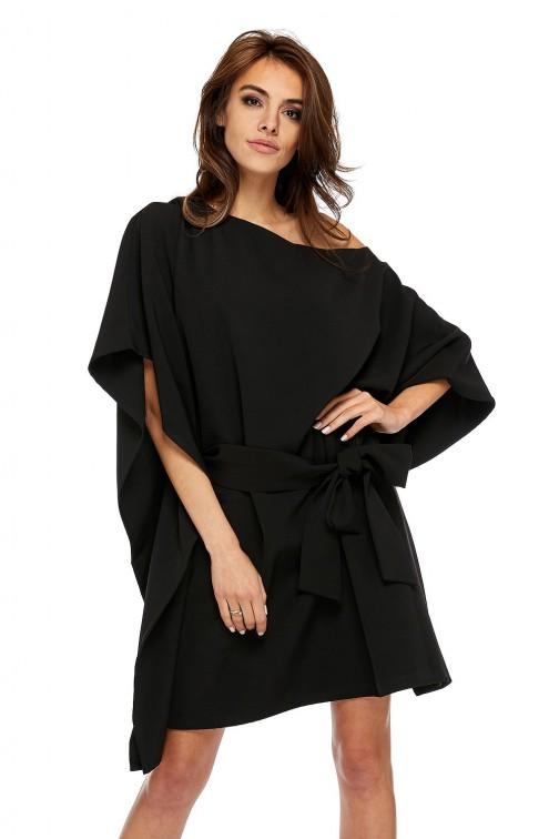 CM3503 Przewiązana sukienka z rękawami kimono - czarna