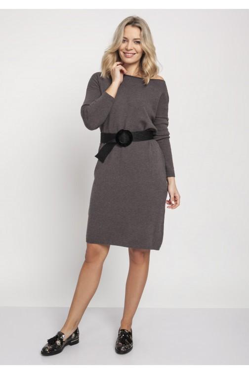 CM4670 Prosta dzianinowa sukienka - grafitowa