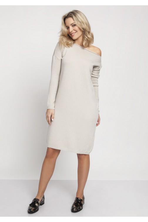 CM4670 Prosta dzianinowa sukienka - beżowa
