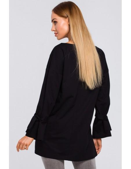 Bluza z wiązaniem przy rękawach - czarna