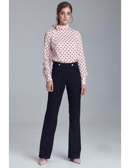 Biurowe spodnie z napami - czarne