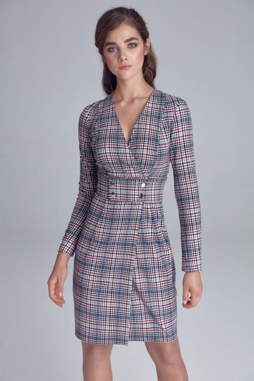CM4823 Odcinana sukienka mini z kopertowym dekoltem - krata-pepitko
