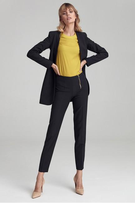 Biurowe spodnie z asymetrycznym zamkiem - czarne