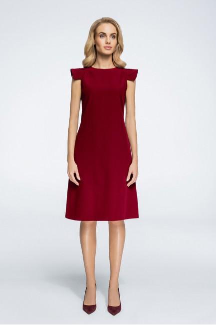 Sukienka z ozdobnymi rękawami - bordowa