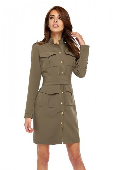 Gustowna sukienka o militarnym kroju z guzikami - zielona