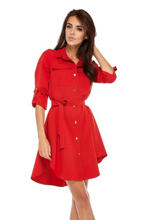 CM3505 Nowoczesna sukienka o militarnym wyglądzie - czerwona