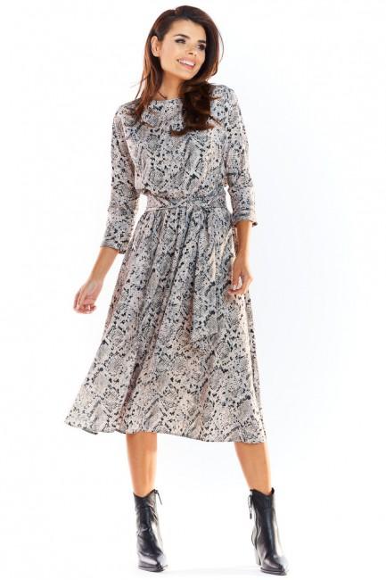 Sukienka midi z rękawem 3/4 - szary-wzór