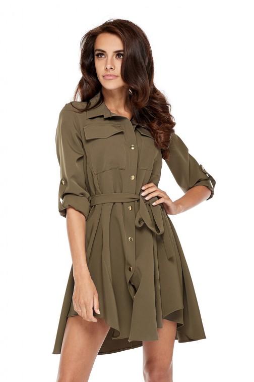 CM3505 Nowoczesna sukienka o militarnym wyglądzie - khaki