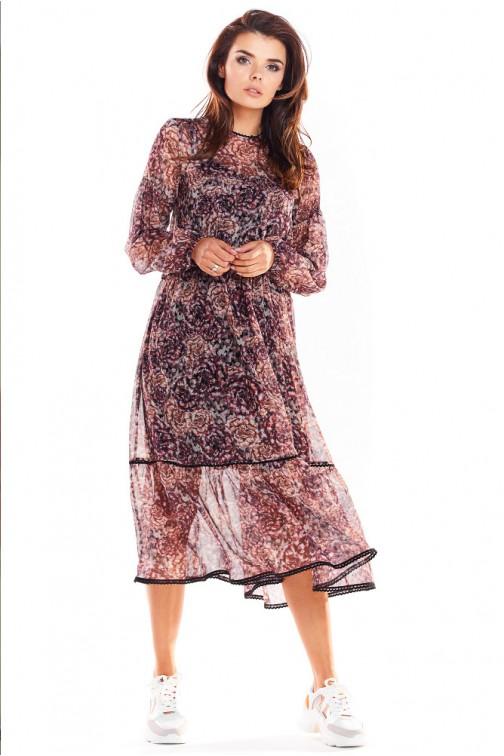 CM4874 Dwuwarstwowa sukienka z długimi rękawami - wzór 2
