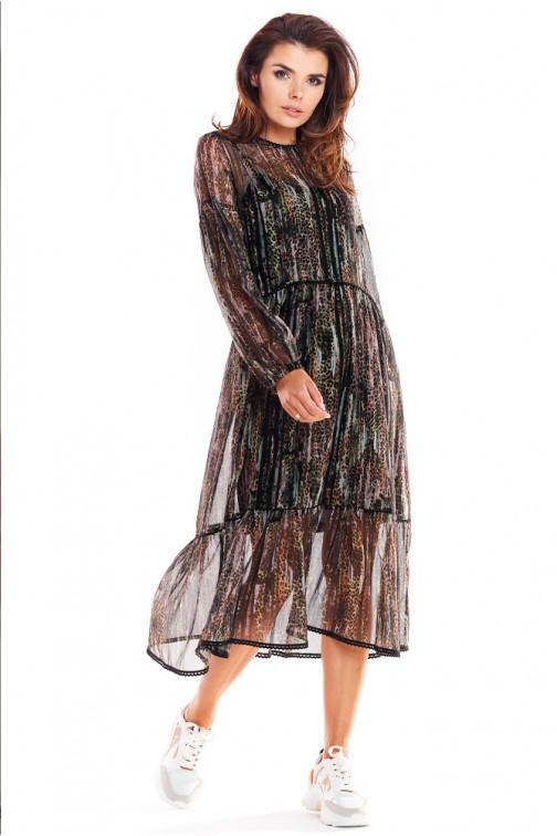 CM4874 Dwuwarstwowa sukienka z długimi rękawami - wzór 3